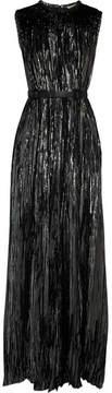 Bottega Veneta Belted Studded Silk-blend Lurex Gown - Silver