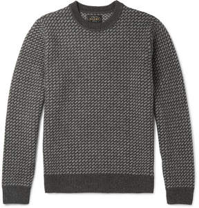 Beams Two-Tone Intarsia Wool-Blend Sweatshirt