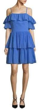 Adelyn Rae Ruffle-Trimmed Fit-and-Flare Dress