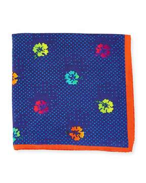Bugatchi Dotted Floral-Print Silk Pocket Square