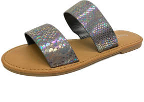 Bamboo Pewter Snake-Embossed Coastline Sandal - Women