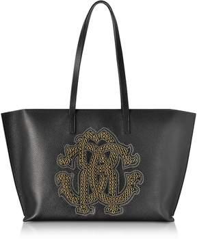 Roberto Cavalli Black Leather Unisex Tote Bag W/gold Studs Rc Logo