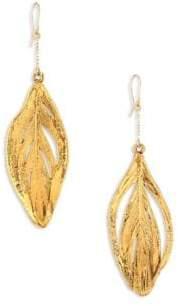 Aurelie Bidermann 18K Yellow Gold Swan Feathers Earrings
