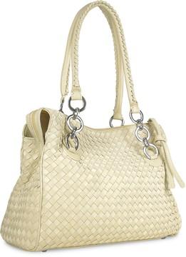 Fontanelli Ivory Woven Italian Suede & Leather Satchel Bag