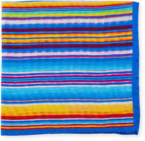 Bugatchi Striped Silk Pocket Square