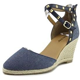 Rialto Compari Women Open Toe Canvas Blue Wedge Sandal.