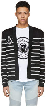Balmain Black and White Striped Badge Cardigan