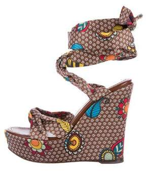 Sergio Rossi Floral Printed Wedge Sandals