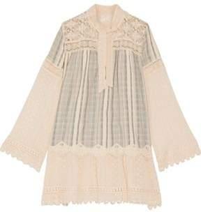 Anna Sui Lace-Paneled Striped Cotton-Gauze Mini Dress