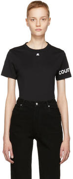 Courreges Black Logo Sleeve T-Shirt