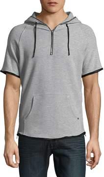 Karl Lagerfeld Paris Men's Quarter-Zip Short-Sleeve Hoodie