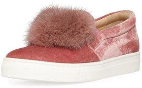 Aquazzura Fur Heart Slip-On Velvet Sneaker, Youth