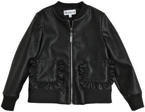 Simonetta Faux Leather Bomber Jacket