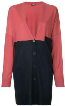 Jil Sander Navy colourblock mid-length cardigan