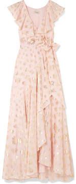 Temperley London Riviera Ruffled Fil Coupé Chiffon Wrap Maxi Dress - Pastel pink