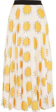 Christopher Kane Printed Crepe Midi Skirt - Yellow