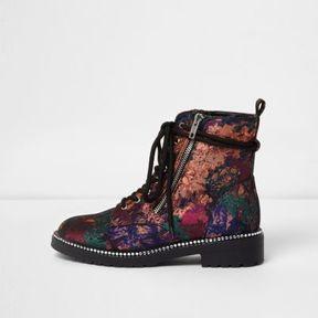River Island Womens Black floral jacquard lace-up biker boots