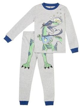 Petit Lem Little Boy's Two-Piece Super Dino Top and Pants Pajama Set