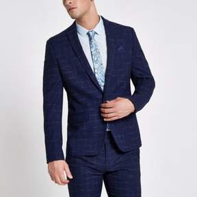 River Island Mens Navy check skinny fit lined suit jacket