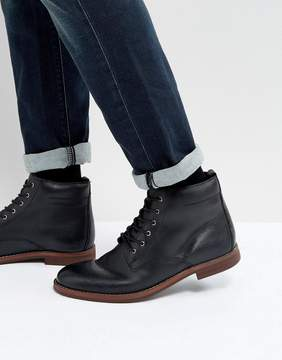Dune Lace Up Boots Black Leather