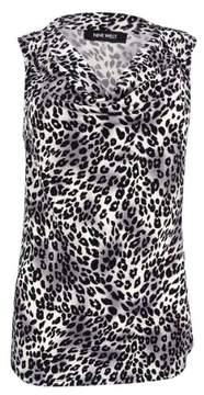 Nine West Women's Printed Drape Neck Jersey (XS, Mink Multi)