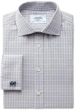 Charles Tyrwhitt Extra Slim Fit Prince Of Wales Silver Cotton Dress Shirt French Cuff Size 15/32
