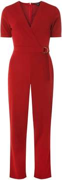 Dorothy Perkins Red D-Ring Belted Wrap Jumpsuit