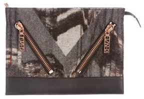 Kenzo Anthracite Wool & Nappa Clutch