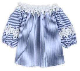 Bebe Girl's Lace-Trimmed Stripe Blouse