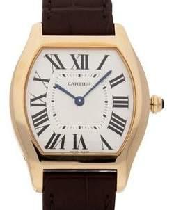 Cartier Tortue Silvered guilloche Dial Men's Watch