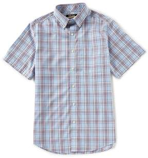 Roundtree & Yorke Gold Label Trim Fit Short-Sleeve Plaid Sportshirt
