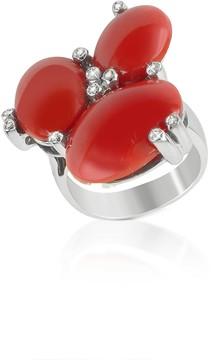 Del Gatto Diamond and Coral Three-stone 18K Gold Ring