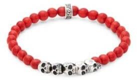 King Baby Studio Coral Bead Skull Bracelet