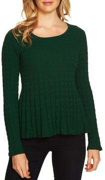 CeCe Women's Textured Peplum Sweater
