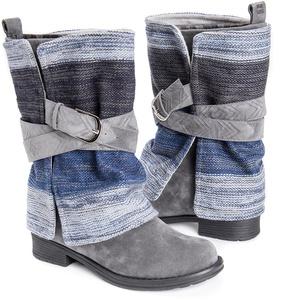 Muk Luks Gray & Blue Stripe Nikita Boot - Women