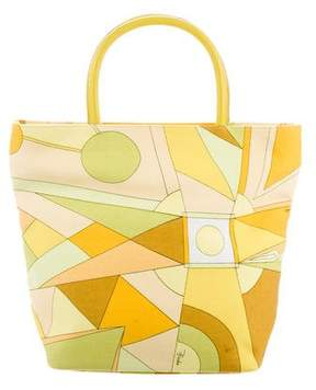 Emilio Pucci Leather-Trimmed Canvas Tote