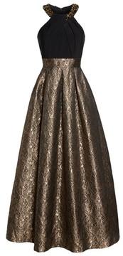 Eliza J Women's Embellished Mixed Media Ballgown