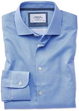 Charles Tyrwhitt Slim Fit Semi-Spread Collar Business Casual Geometric Print Mid Blue Egyptian Cotton Dress Shirt Single Cuff Size 15/34