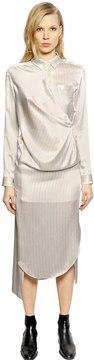 Each X Other Pinstriped Silk Satin Shirt Dress