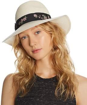Aqua Embroidered-Trim Panama Hat - 100% Exclusive