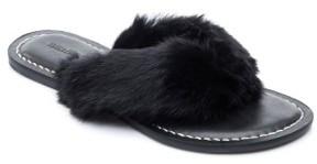 Bernardo Women's Genuine Rabbit Fur Flip Flop