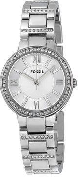 Fossil Virginia Silver Dial Stainless Steel Ladies Watch