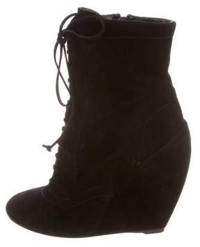 Alaia Suede Lace-Up Ankle Boots