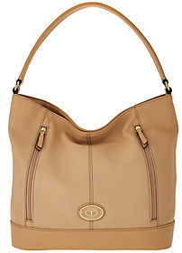Tignanello Pebble Leather RFID Hobo with Front Zips