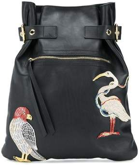 RED Valentino bird embroidered backpack