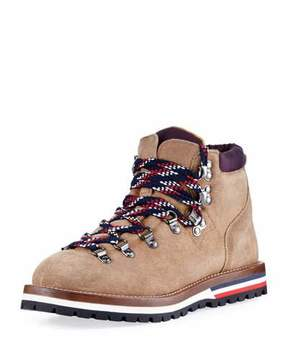 Moncler Blanche Glittered Suede Hiking Boot