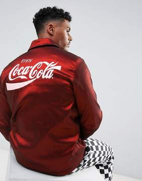 Hype x Coca Cola Fleece Lined Coach Jacket In Red With Back Print