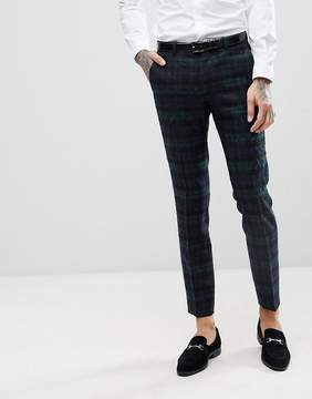 Asos Wedding Slim Suit Pants With Mohair In Lochcarron Blackwatch Plaid