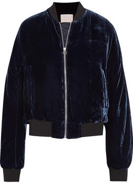 Dion Lee Velvet Bomber Jacket - Midnight blue