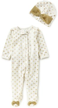 Baby Starters Baby Girls Newborn-9 Months Printed Footed Coverall & Matching Hat Set
